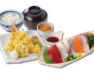 お刺身と天ぷら定食のイメージ