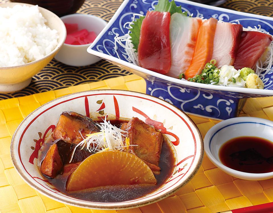 本日の煮魚とお刺身御膳