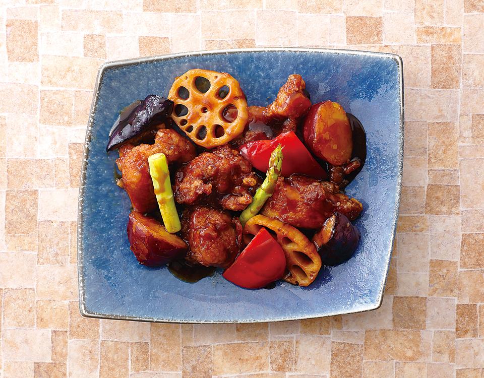 若鶏と根菜の黒酢炒め定食